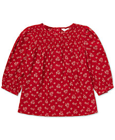Polo Ralph Lauren Baby Girls Smocked Floral-Print Top