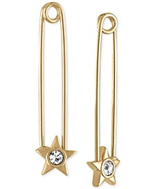 Gold-Tone Crystal Star Safety Pin Earrings
