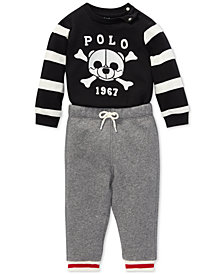 Polo Ralph Lauren Baby Boys Graphic Shirt & Fleece Pants Set