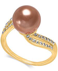 Charter Club Gold-Tone Crystal Imitation Mocha Pearl Ring, Created for Macy's