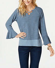 Style & Co X-Front Bell-Sleeve Top, Created for Macy's