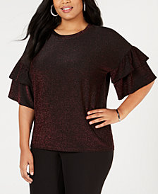MICHAEL Michael Kors Plus Size Metallic Double-Ruffle-Sleeve Top