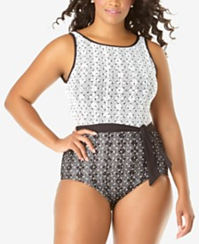 Anne Cole Plus Size In First Lace Dot-Print One-Piece Swimsuit