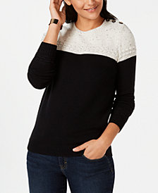 Charter Club Petite Colorblocked Mixed-Knit Sweater, Created for Macy's