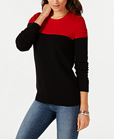 Charter Club Colorblocked Sweater, Created for Macy's