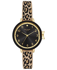 Women's Park Row Leopard Print Silicone Strap 34mm