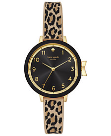 kate spade new york Women's Park Row Leopard Print Silicone Strap 34mm