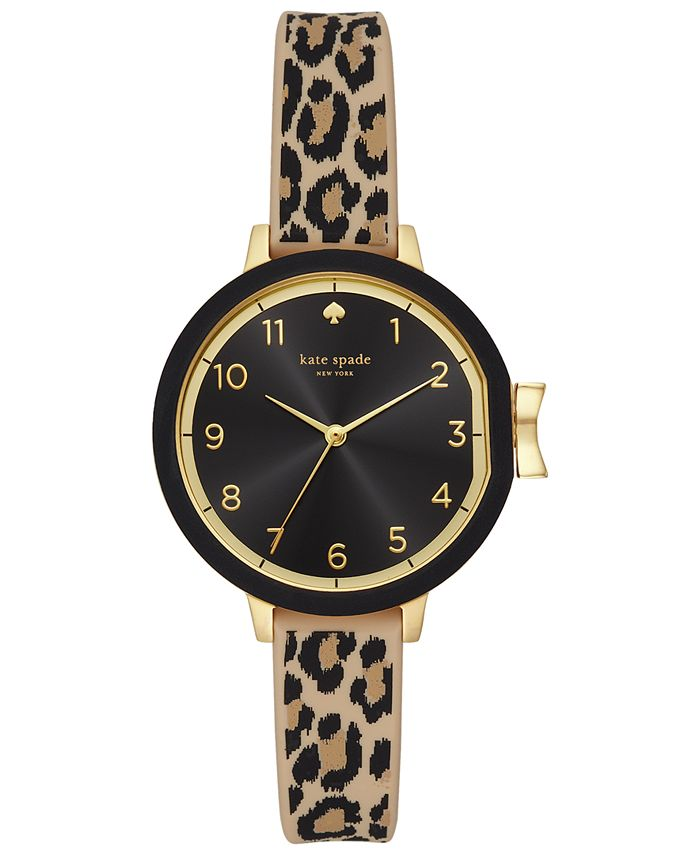 kate spade new york - Women's Park Row Leopard Print Silicone Strap 34mm