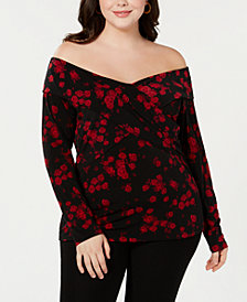 MICHAEL Michael Kors Plus Size Rose-Print Off-The-Shoulder Top