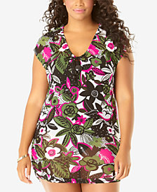 Anne Cole Plus Size Mesh T-Shirt Cover-Up