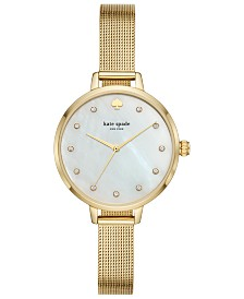 kate spade new york Women's Metro Gold-Tone Stainless Steel Mesh Bracelet Watch 34mm