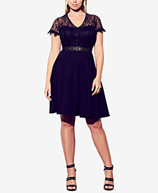 City Chic Plus Size Lace Belted A-Line Dress