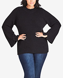City Chic Plus Size Cross-Hatch Turtleneck Sweater