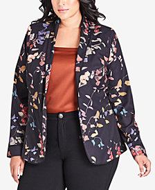 City Chic Plus Size Floral-Print Jacket