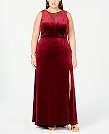 Nightway Plus Size Illusion Velvet Dress