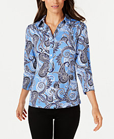 Charter Club Paisley Print Polo Top, Created for Macy's