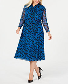 Anne Klein Plus Size Printed Long-Sleeve Dress