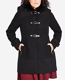 City Chic Trendy Plus Size Faux-Fur-Hood Coat