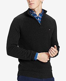 Tommy Hilfiger Men's Waffle Knit 1/4-Zip Sweater, Created for Macy's