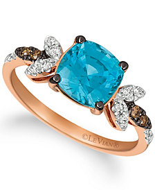 Le Vian® Blue Zircon (2 ct.t.w.), Nude Diamonds™ (1/5 ct.t.w.), and Chocolate Diamonds® (diamond accent) Ring set in 14k rose gold