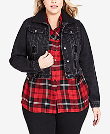 City Chic Trendy Plus Size Removable Faux Fur Denim Jacket