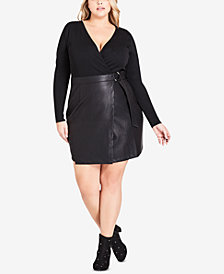 City Chic Trendy Plus Size Faux-Leather Wrap Dress