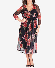 City Chic Trendy Plus Size Floral-Print Draped Dress