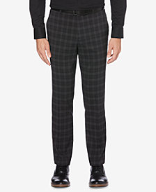 Perry Ellis Men's Portfolio Slim-Fit Stretch Medium Windowpane Plaid Dress Pants