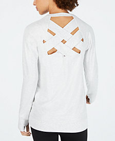 Ideology Metallic Lattice-Back Top, Created for Macy's