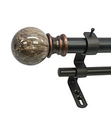 Decopolitan 1-Inch Marble Ball Double Telescoping Curtain Rod Set, 72 to 144-Inch, Brown