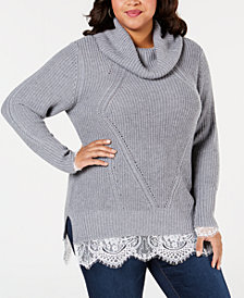 Belldini Plus Size Cowl-Neck Lace-Hem Sweater