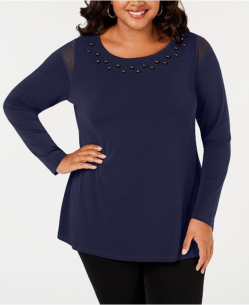 a937ad28 Belldini Belle by Plus Size Studded Mesh-Inset Top - Tops - Plus ...