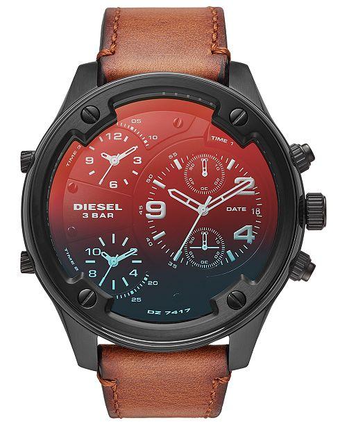 Diesel Men's Chronograph Boltdown Brown Leather Strap Watch 56mm