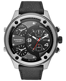 Diesel Men's Boltdown Black Leather Strap Watch 56mm