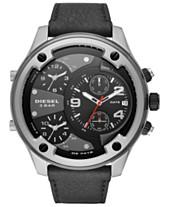 eabbd5e1a333 Diesel Men s Boltdown Black Leather Strap Watch 56mm