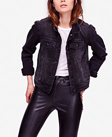 Free People Rumors Cropped Denim Jacket