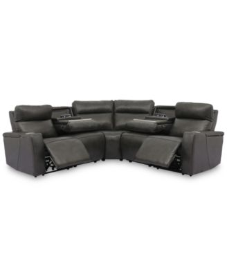 Oaklyn 5-Pc. Leather Sectional with 2 Power Motion Recliners & 2 Drop Down Tables