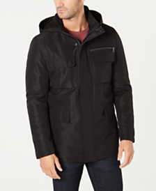 Kenneth Cole Men's Full-Zip Hooded Overcoat