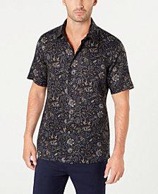 Tasso Elba Men's Floral-Print Linen Shirt, Created for Macy's