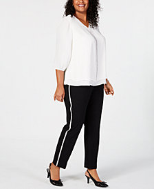 JM Collection Glitter Blouse and Side Stripe Pants, Created for Macy's