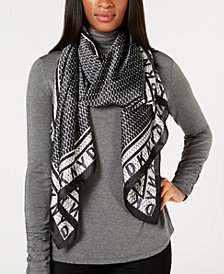DKNY Mesh-Overlay Printed Satin Scarf, Created for Macy's