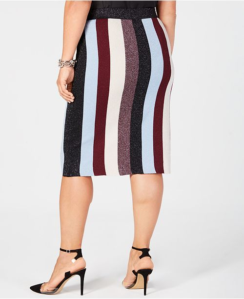 88545b9ce6 I.N.C. Plus Size Metallic Striped Skirt, Created for Macy's