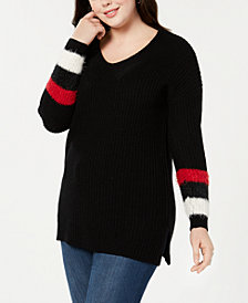 Planet Gold Trendy Plus Size Stripe-Detail Sweater