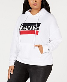 Trendy Plus Size  Logo Fleece Hoodie