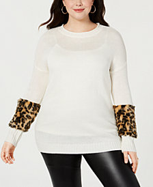 Planet Gold Trendy Plus Size Faux-Fur Trimmed Sweater