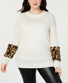 085dc88cdeda0 Planet Gold Trendy Plus Size Faux-Fur Trimmed Sweater