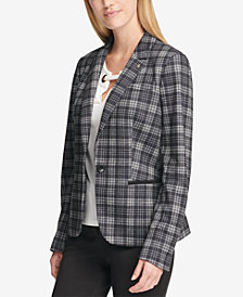 Tommy Hilfiger Plaid Elbow-Patch Knit Blazer