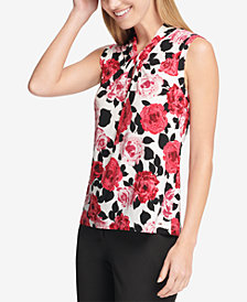 Tommy Hilfiger Floral Sleeveless Knot-Neck Blouse