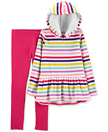 Carter's Little Girls 2-Pc. Striped Fleece Hoodie & Leggings Set