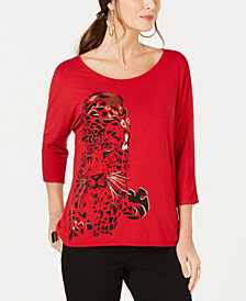 Thalia Sodi Metallic Cheetah-Graphic Top, Created for Macy's